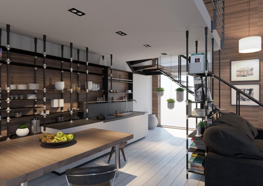 Offene Küche mit tRACK Regalen