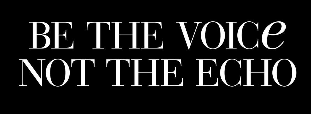 Be the voice not the echo