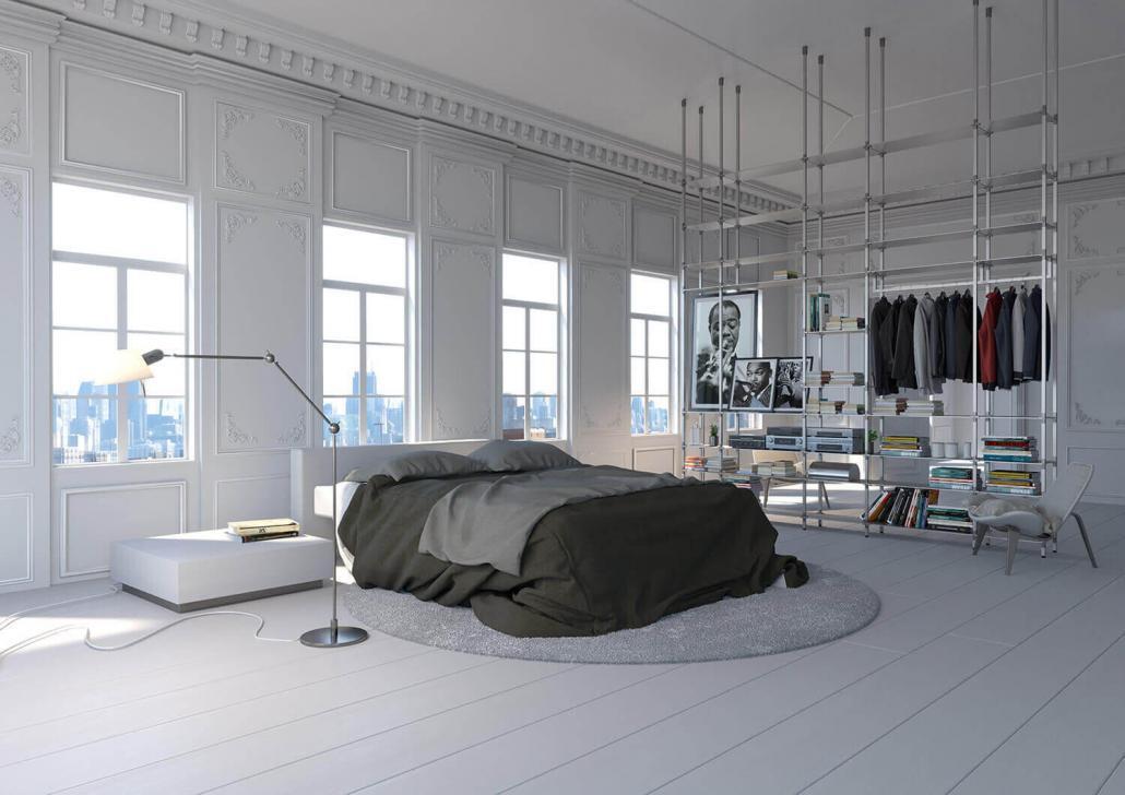 tRACK Regalsystem als Kleiderschrank und Schlafzimmermöbel