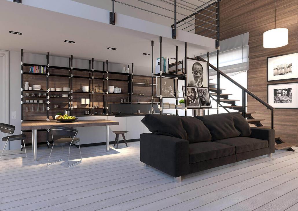 Wohnküche mit tRACK Regal