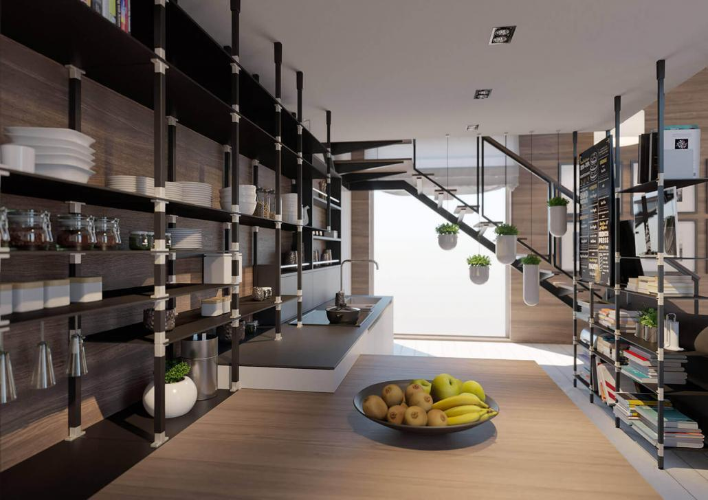 Systemregal für die Wohnküche