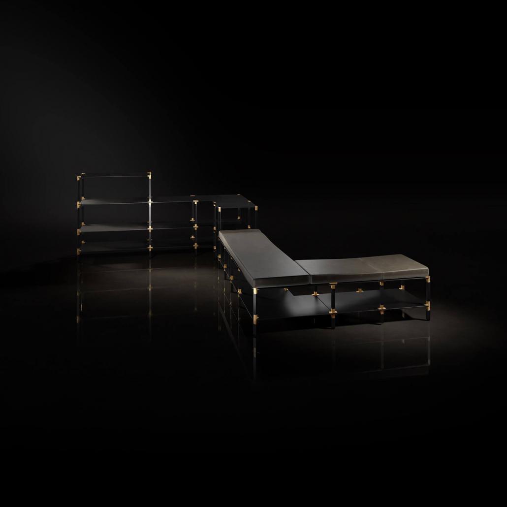 Regalsystem mit Sitzpolster